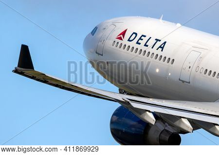Amsterdam, The Netherlands - Jan 9, 2019: Delta Air Lines Airbus A330 Passenger Plane Taking Off Fro