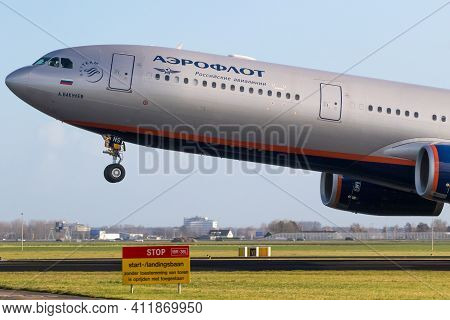 Amsterdam, The Netherlands - Jan 9, 2019: Russian Aeroflot Airbus A330 Passenger Plane Taking Off Fr