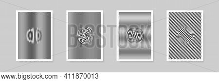 Distorted Rounded Lines Vector Curve Line In Circle Shape Background Set, Flat Warped Into Sphere St