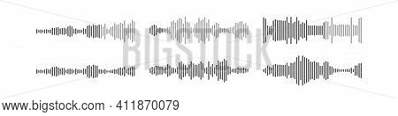 Voice Audio Message Vector Smartphone App Interface Design, Flat Wave Flat Soundwave Set, Waveform S