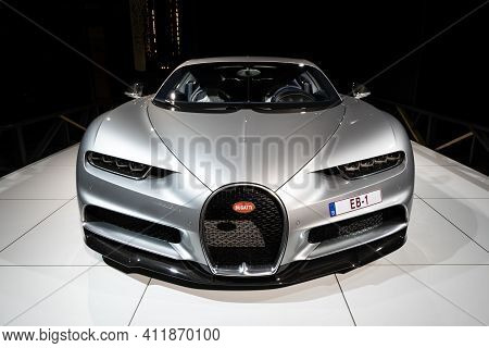 Brussels - Jan 18, 2019: Bugatti Chiron Sports Car Showcased At The 97th Brussels Motor Show 2019 Au