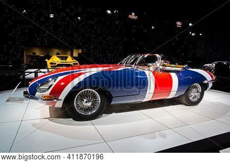Brussels - Jan 18, 2019: Jaguar E Type 1967 Vintage Sports Car Showcased At The 97th Brussels Motor