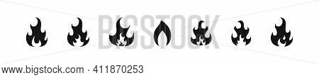 Fire Burn, Flame Blazing Flat Black Icon Collection, Bonfire Flames Vector Illustration Set.