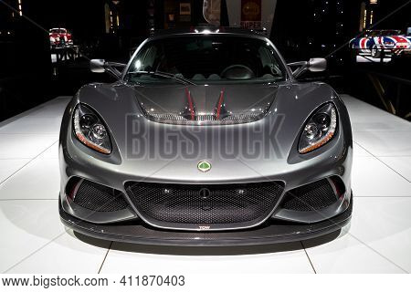Brussels - Jan 18, 2019: Lotus Exige Cup 430 Sports Car Showcased At The Brussels Autosalon 2019 Mot