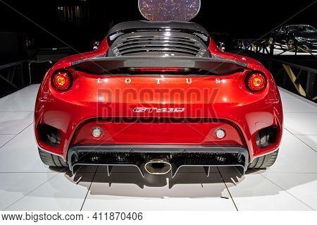 Brussels - Jan 18, 2019: Lotus Evora Gt410 Sport Sports Car Showcased At The Brussels Autosalon 2019