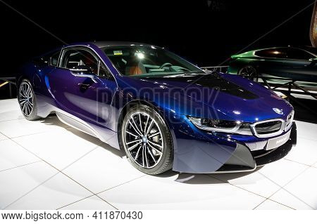 Brussels - Jan 18, 2019: Bmw I8 Coupe Electric Sports Car Showcased At The 97th Brussels Motor Show