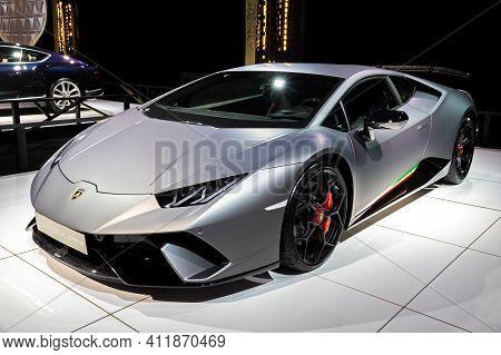 Brussels - Jan 18, 2019: Lamborghini Huracan Sports Car Showcased At The 97th Brussels Motor Show 20