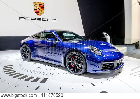 Brussels - Jan 18, 2019: New Porsche 911 Sports Car Showcased At The 97th Brussels Motor Show 2019 A