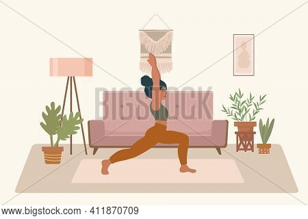 Yoga Girl At Home. Vector Illustration Of A Girl In A Yoga Pose. Drawn In A Flat Style. A Postcard F