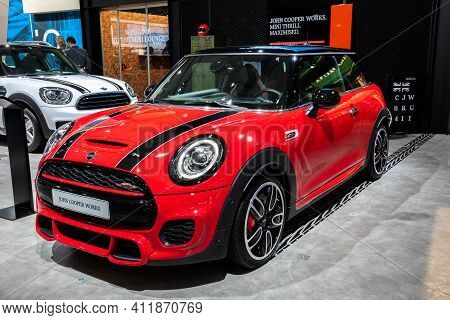 Brussels - Jan 18, 2019: Mini Cooper Car Showcased At The 97th Brussels Motor Show 2019 Autosalon.