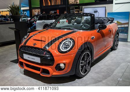 Brussels - Jan 18, 2019: Mini Cooper Cabrio Car Showcased At The 97th Brussels Motor Show 2019 Autos