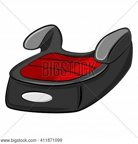 Car Seat For Children Cartoon Vector Illustration Isolated On White Background. Child Safety Booster