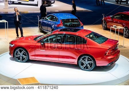 Brussels - Jan 18, 2019: European Debut Of The New Volvo S60 Car Showcased At The Brussels Motor Sho