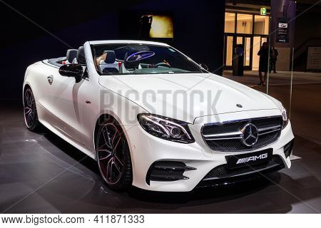 Brussels - Jan 18, 2019: Mercedes Amg E53 4matic+ Coupe Sports Car Showcased At The 97th Brussels Mo