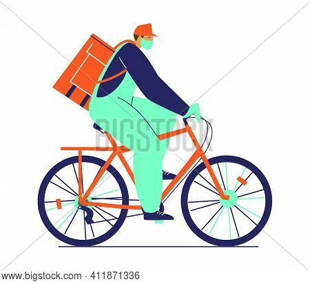Safe Food Delivery By Bicycle During Coronavirus Epidemic. Delivery Boy In Protective Mask And Glove