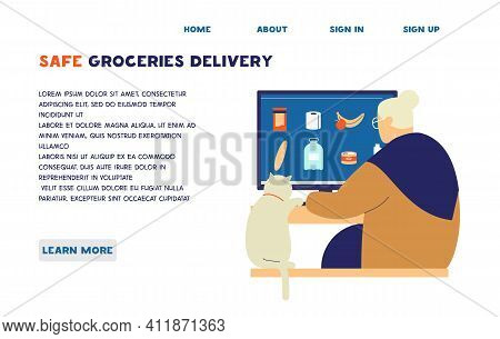 Old Lady With Cat Ordering Groceries Online. Online Shopping And Safe Delivery For Elderly People Du