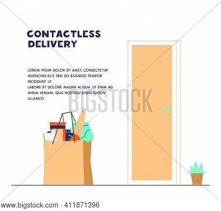 Contactless Delivery During Coronavirus Concept. Safe Food Delivery. Paper Bag With Grocerie Order N