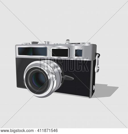 Vector Neat Accurate Illustration Of Vintage Classic Photo Camera. Realistic Retro Old Photo Camera