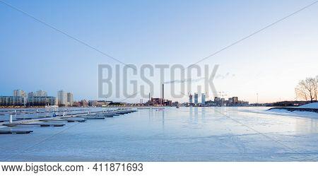 Finland, Helsinki, March 3, 2021\n     Dawn, Spring Panorama Of Helsinki, View Of The Katajanokka An