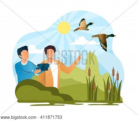 Two Male Characters Watching The Birds With Binoculars. Concept Of Birdwatching Hobby, Exploring Nat