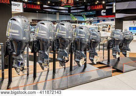 Dusseldorf, Germany - Jan 21, 2019: Row Of Yamaha Outboard Motors On Display At Boot Dusseldorf Inte