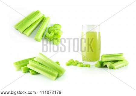 Set Of Fresh Celery Juice Isolated On White Background, Food For Health