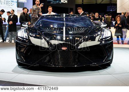 Geneva, Switzerland - March 5, 2019: One-off 19 Million Dollar Bugatti La Voiture Noire Supercar Deb