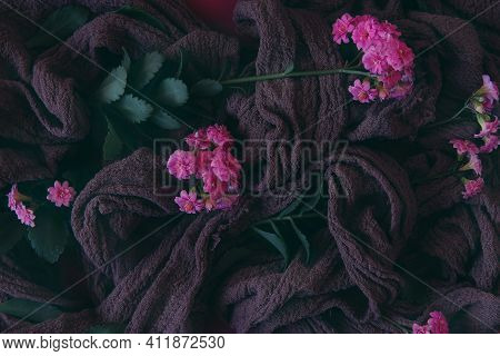 Abstract Background. Motivation And Inspiration. Background Of Pink Flowers And Light Fabric In A Fl
