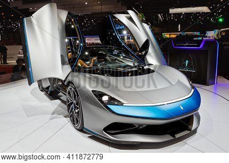 Pininfarina Battista All-electric Hypercar Showcased At The 89th Geneva International Motor Show. Ge