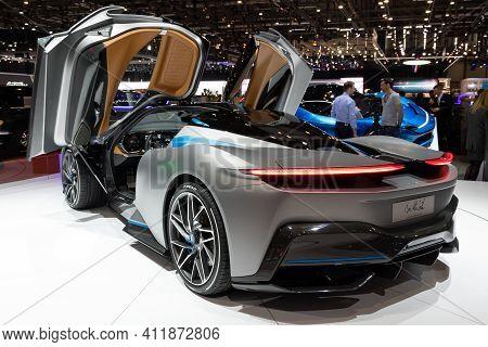 Geneva, Switzerland - March 5, 2019: All-electric Pininfarina Battista Hypercar  Showcased At The 89