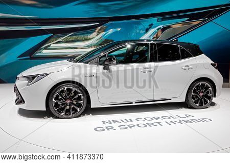 New Toyota Corolla Gr Sport Hybrid Car Showcased At The 89th Geneva International Motor Show. Geneva