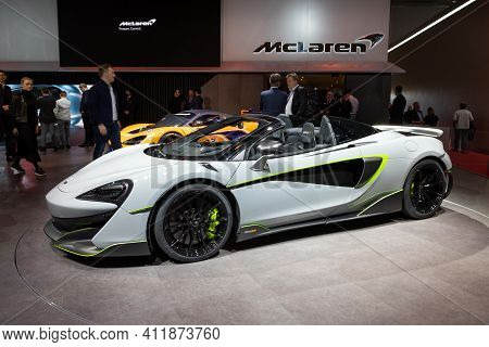 Geneva, Switzerland - March 5, 2019: Mclaren 600lt Sports Car Showcased At The 89th Geneva Internati