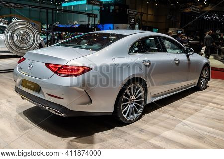 Geneva, Switzerland - March 6, 2019: Mercedes Benz Cls 350 Coupe Car Showcased At The 89th Geneva In