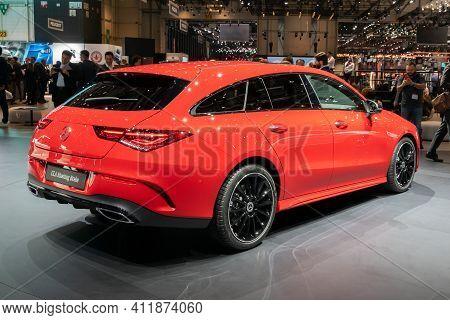 Geneva, Switzerland - March 6, 2019: Mercedes Benz Cla Shooting Brake Car Debut At The 89th Geneva I