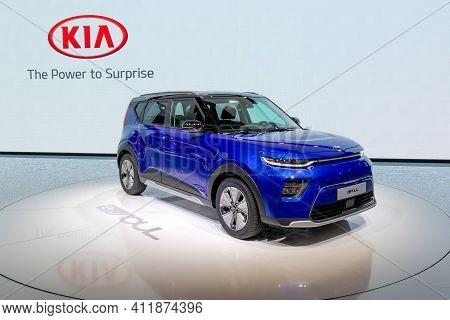 Geneva, Switzerland - March 6, 2019: Electric Kia E-soul Car European Debut At The 89th Geneva Inter