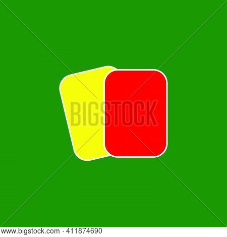 Yellow And Red Card Icon. Football Soccer Referee Penalty Symbol.