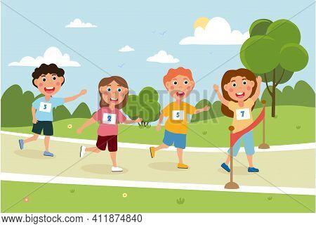 Little Children Are Running Outside In The Park. Little Happy Girl Celebrating Her First Win In Runn