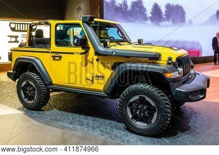 Geneva, Switzerland - March 5, 2019: Jeep Wrangler Rubicon 4x4 Carshowcased At The 89th Geneva Inter