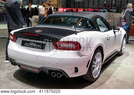 Geneva, Switzerland - March 5, 2019: Abarth 124 Spider Tribute Rally Sports Car Showcased At The 89t