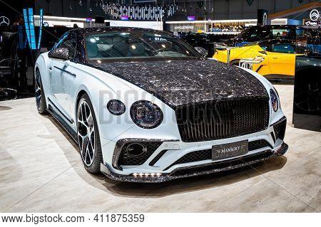 Mansory Bentley Continental Gt Sports Car At The 89th Geneva International Motor Show. Geneva, Switz