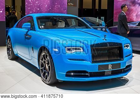 Rolls-royce Wraith Coupe 6.6 Luxury Car At The 89th Geneva International Motor Show. Geneva, Switzer