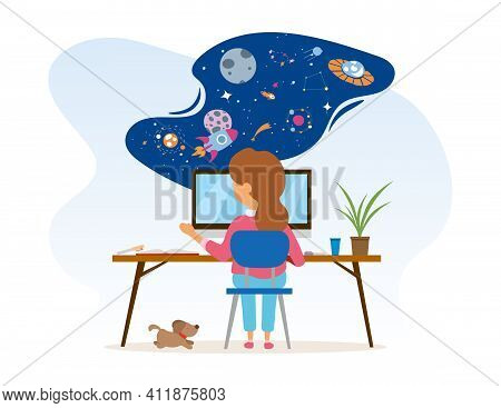 Little Girl Is Sitting At Desk With Computer And Using Her Imagination. Kid Is Dreaming About Space
