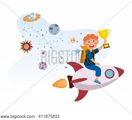 Little Kid Is Riding Rocket To Success. Little Cute Boy Is Flying On Rocket With Backpack And Golden