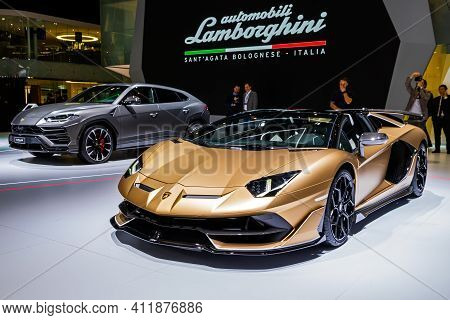 Lamborghini Aventador Svj Roadster Sports Car Debut At The 89th Geneva International Motor Show. Gen