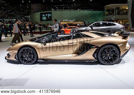 Geneva, Switzerland - March 5, 2019: Lamborghini Aventador Svj Roadster Sports Car Debut At The 89th
