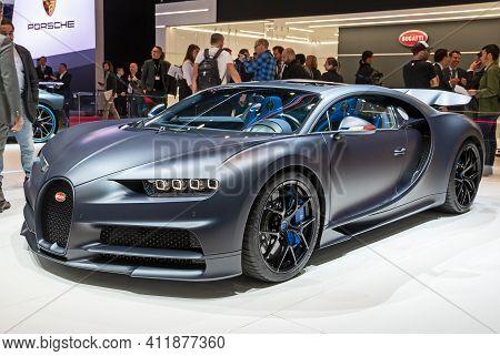 Bugatti Chiron Sport '110 Ans Bugatti' Special Edition Car At The 89th Geneva International Motor Sh