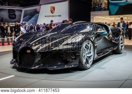 Geneva, Switzerland - March 6, 2019: One-off 19 Million Dollar Bugatti La Voiture Noire Super Car De