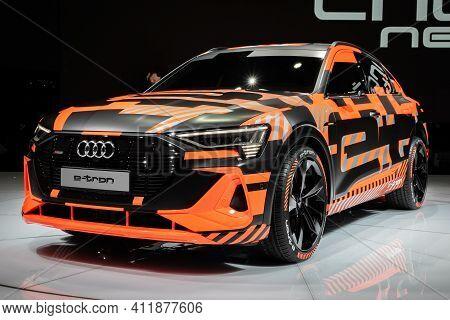 Geneva, Switzerland - March 6, 2019: Audi E-tron Sportback Electric Suv Coupe Car Showcased At The 8