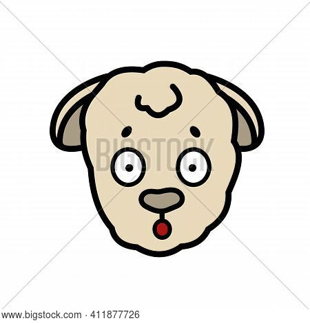 Vector Farm Isolated Muzzle Sheep Animal Head With Emotion. Surprised, Frightened, Discouraged, Ears