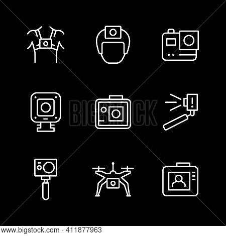 Set Line Icons Of Action Camera Isolated On Black. Movement, Extreme Helmet, Compact Cam, Drone Or Q
